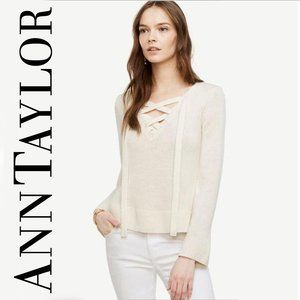 Ann Taylor Wool Cashmere Blend Small Ivory Sweater